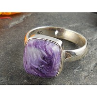 Charoite Sterling Silver Ring - Size 6.75
