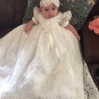 Vintage Toddler Girls Christening Dress with Headband White Lace Pearls Baby Girl Birthday Baptism Dresses Custom with Shoes