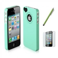 Pandamimi Dexule Light Green Cute Girls Ultra-thin Ice Cream Glossy Hard Case Cover for iPhone 4 4S, Screen Protector, White Cute Stylus