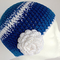 Flower beanie, Blue beanie, Blue women hat, Blue winter beanie, Kids hat, White stripe beanie, Chunky hat, Changeable flower, Girls beanie