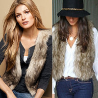 2015 Hot Selling Lady Coat Fashion Women Short Sleeves Fake Fur Vest Coat = 1932360452