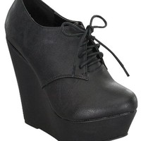 Black Faux Leather Wedge Heeled Booties | Miss Luxe Clothing