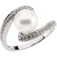 Freshwater Cultured Pearl And Diamond Ring 14K White Gold 8mm 1/6Cttw Freshwater Cultured Pearl And Diamond Ring