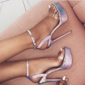 New one-word strap thunder snake print ultra high heel sexy sandals