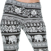 Flower And Elephant Printed Leggings
