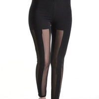 Vertical Stripe Black & Sheer Mesh Panels Cotton Leggings