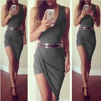 summer dress 2015 new asymmetrical Dress sexy party elegant bandage casual mini short sleeveless red black grey white prom evening Cocktail bodycon nightclub Dress = 5737748097