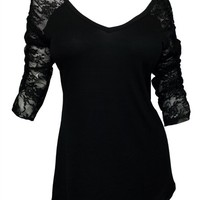 eVogues Plus Size Sexy Lace Accented Black Tunic Top - 3X