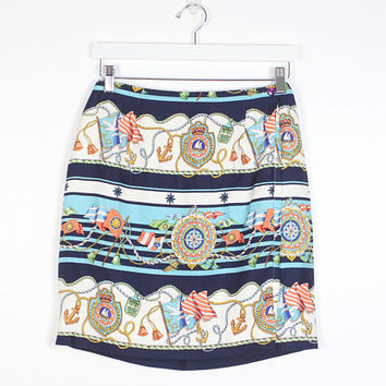 Vintage Mini Skirt Nautical Print Wrap Skirt 80s Skirt Preppy Star Anchor Novelty Print 1980s Skirt Summer Boating Tulip Skirt 29 M Medium