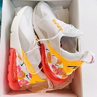 Nike Air Max 270 Flyknit Fashion Women Flower Casual Sport Running Shoes Jogging Sneakers White
