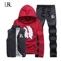 Thick Inner Wool Men Tracksuit Set Fleece Jacket Vest Pants 3 Pieces Sets 2018 Winter Pullover Hoodies Men set Jogger for Male