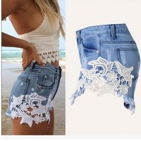 2017 Newest Womens Summer Denim Shorts Casual Cowboy  Shorts Vintage Hot Short Sexy Female Lace Patchwork Jeans Short K169
