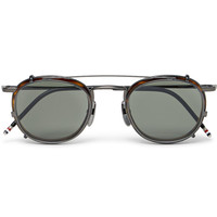 Thom Browne - Round-Frame Tortoiseshell Acetate Optical Glasses With Clip-On UV Lenses | MR PORTER