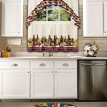 Ben&Jonah Collection Chardonnay - Printed Tier and Swag Window Curtain Set - 57x36 - Burgundy