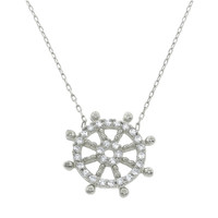 Sterling Silver Pave Nautical Wheel Necklace