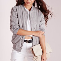 Missguided - Faux Suede Bomber Jacket Light Grey