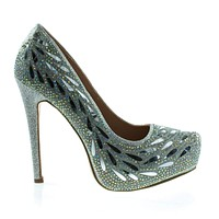 Flower02 By Cindy, High Heel Platform Pump w Mesh Glitter, Rhinestone, Metal Droplet