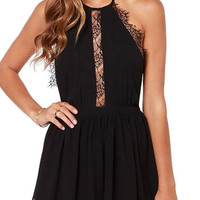 Black Halter Neck Lace Detail Chiffon Open Back Mini Dress