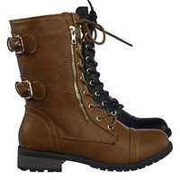 Mango71 Women Military Lace Up Combat Boots w Lug Sole & Metal Hardware