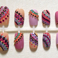 Pink and Nude Indian / Ethnic / Tribal Inspired Dotted Fake Nails with Gold Beads Nail Set