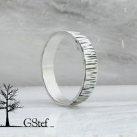 Sterling silver 4mm tree bark unisex band. Wedding texture band. Mens hammered ring. Oxidized hammered ring.Custom made. His and hers ring.