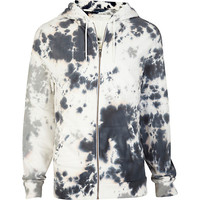 River Island MensGrey tie dye zip through hoodie