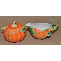 Painted Fall Pumpkin Cream and Sugar Set
