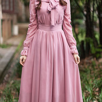 Pink Long Sleeve Ruffle Trim Pleated Maxi Dress