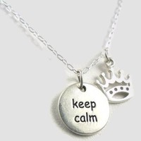 Keep Calm and Carry On Crown Sterling Silver Necklace British WWII Pendant Charm Jewelry (16 Inches)