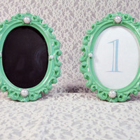 Custom Table Number Frames Light Green Mint Seafoam with Pearl Embellishments Chalkboard or Custom Printed Shabby Chic Baroque Vintage Beach