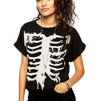 Skeleton Print Short Sleeve T-Shirt