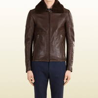 leather biker jacket with shearling collar 354184XG0466066