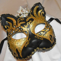 Black and Gold Princess Kitty Cat Mask