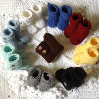 Baby Booties Hand Crochet Shoes Many Color Choices, Many Sizes featuring Button Closure, SnuUgs Featuring two Buttons on each Boot