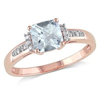 0.05 CT  Diamond TW And 4/5 CT TGW Aquamarine Fashion Ring  10k Pink Gold GH I2;I3