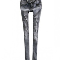 Ripped Skinny Jeans in Grey Snow Wash