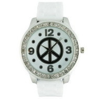 Round Face Silicone Watch w/ Peace Sign and Crystal Accents - White