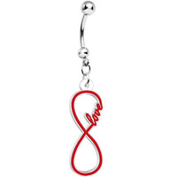 Red and White Acrylic Love to Infinity Dangle Belly Ring | Body Candy Body Jewelry