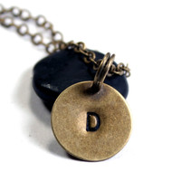 Personalized Initial Jewelry : Brass Tiny Tag Initial Necklace