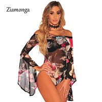 Ziamonga 2017 Women Bodysuit Top Flower Printed Flare Long Sleeve Bodysuit Rompers Womens Jumpsuit Sexy Sheer Mesh Lace Bodysuit