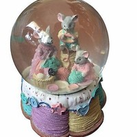 Three Knitting Mice Snow Globe