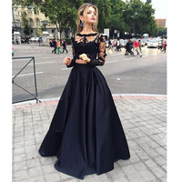 Two Piece A Line Lace Bodice Black Prom Dresses Satin Skirt pst0106
