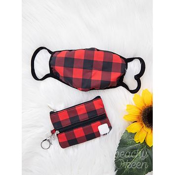 Southern Grace Rad in Buffalo Plaid Double Zipper Mini Versi Bag with Face Mask