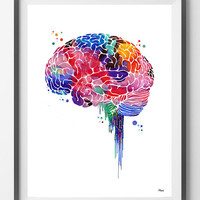 Brain watercolor print anatomy art brain lateral view poster lobes of the cerebral cortex abstract medical art neurology art wall decor gift