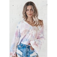 She Loves The Sunshine Purple Tie Dye Knit Top