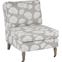 Ave Six Madrid Accent Chair with Toile Stems Light Grey Fabric and Medium Grey Solid Wood Caster Legs