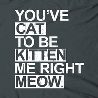 You've cat to be kitten me right meow - humor funny cute text words phrase tee t-shirt