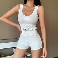2020 new women's butterfly hot rhinestone elastic vest top high waist shorts suit two-piece