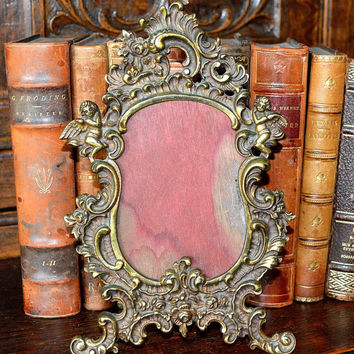 Antique French Brass Cherubs or Angels Picture Frame  Lovely for a Vintage Photo