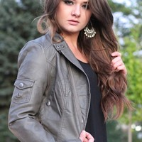 Street Smart Snapped Up Faux Leather Jacket - (Grey)